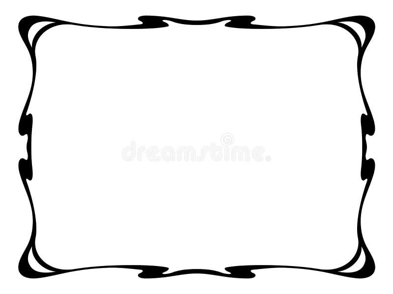 svart dekorativ dekorativ ramnouveau för konst stock illustrationer