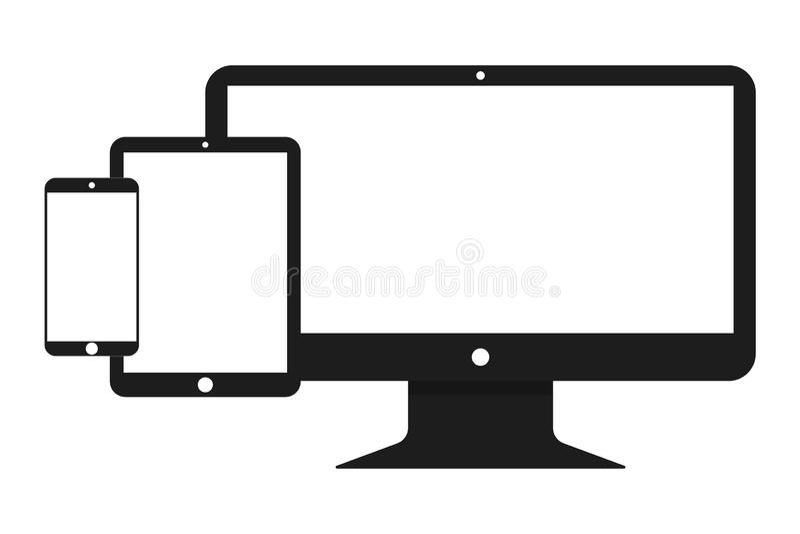 Svart destopdator-, minnestavla- och smartphoneuppsättning med den vita skärmen på vit bakgrund Smartphone, minnestavla och sk vektor illustrationer