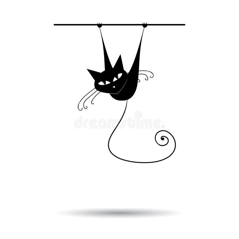 svart din kattdesignsilhouette vektor illustrationer