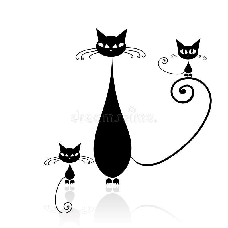 svart din kattdesignsilhouette royaltyfri illustrationer