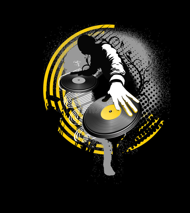 svart dj blandar yellow royaltyfri illustrationer