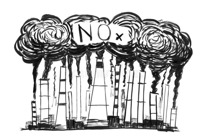 Svart dra för färgpulverGrungehand av att röka fabriksskorsten, begrepp av bransch eller fabriksNOx-luftförorening vektor illustrationer