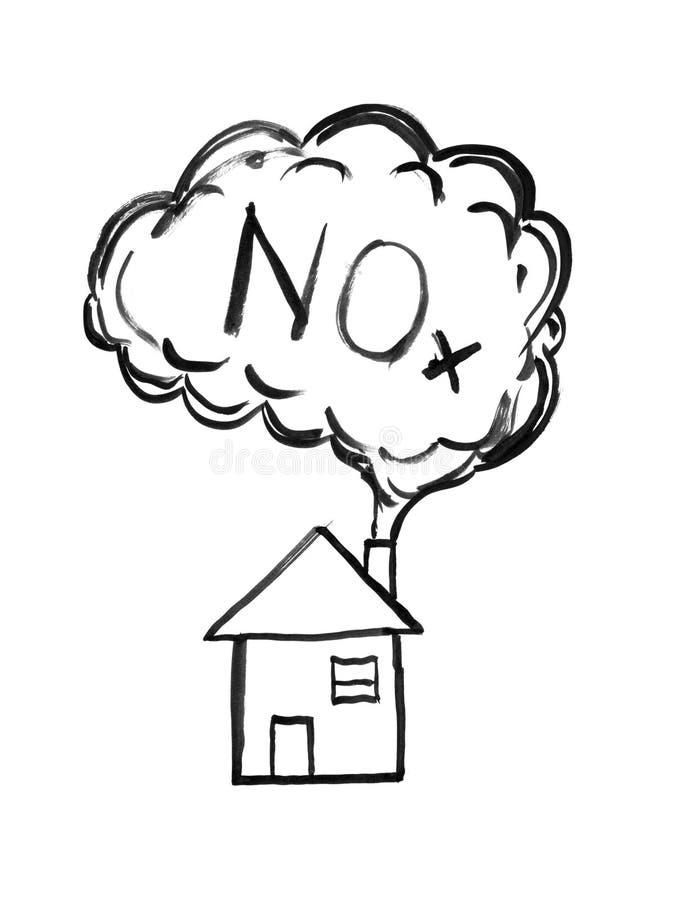 Svart dra för färgpulverhand av rök som kommer från huslampglaset, gasformigt grundämneoxider eller NOx-luftföroreningbegrepp stock illustrationer