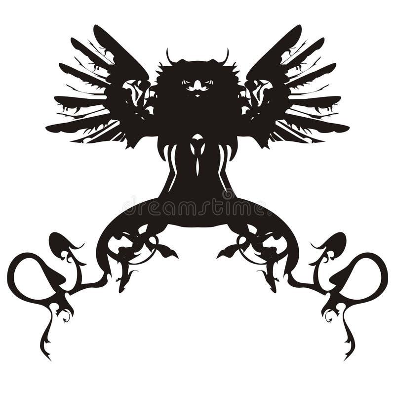 svart drakesymbol royaltyfri illustrationer