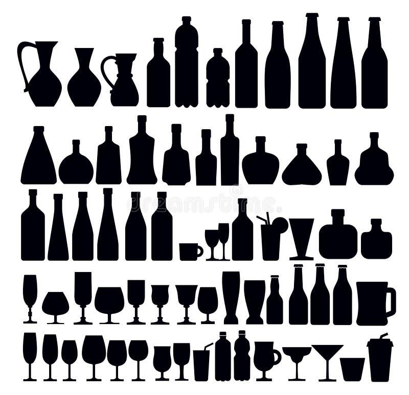 Dryck- och exponeringsglassymboler stock illustrationer