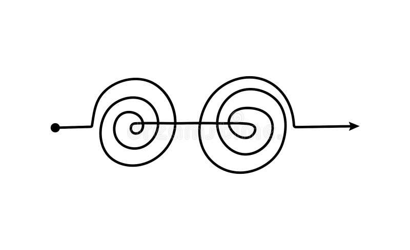 Svart dubbel spiralspil med komplicerat tangelmönster vektor illustrationer