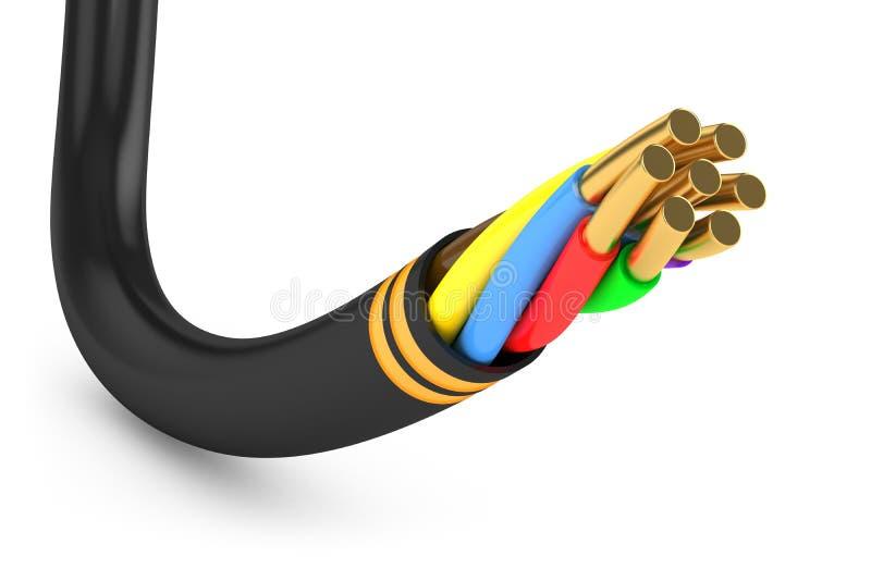 Svart elektrisk kabel vektor illustrationer