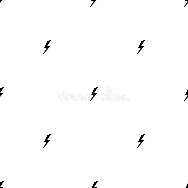 Svart enkel sömlös modell för blixtbult storm- eller åska- och blixtslagprydnad på vit stock illustrationer