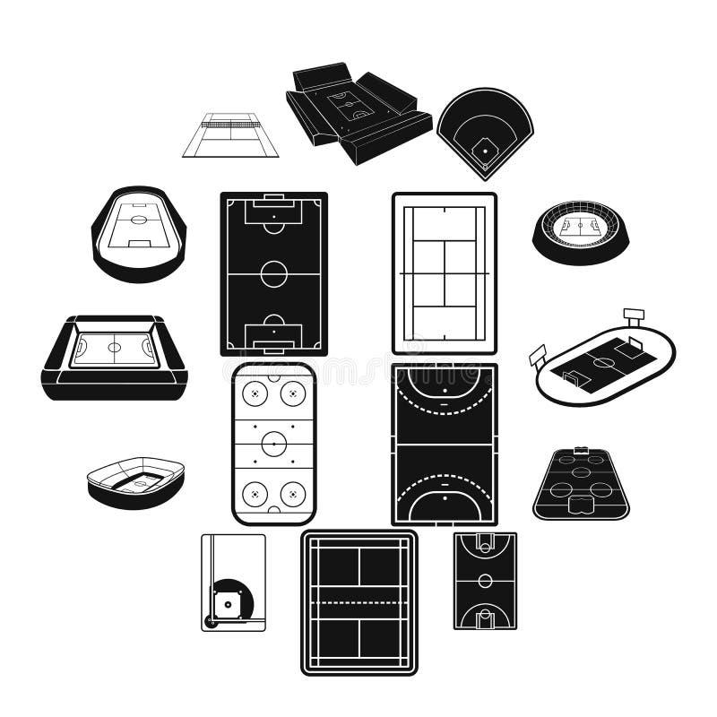 Svart enkel symbolsuppsättning för stadion vektor illustrationer