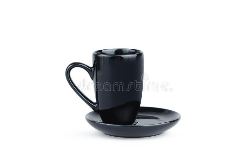 Svart espressokaffekopp som isoleras på vit Porslinexponeringsglas royaltyfri foto