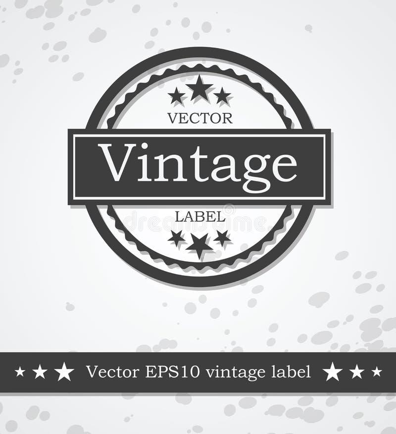 Svart etikett med retro tappning utformad design royaltyfri illustrationer