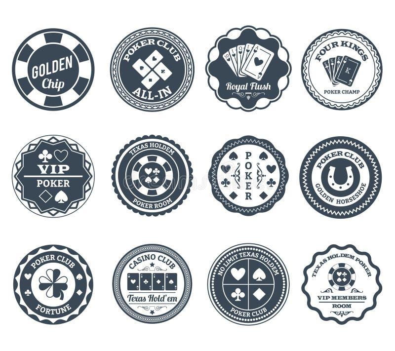 Svart etikettuppsättning för poker stock illustrationer