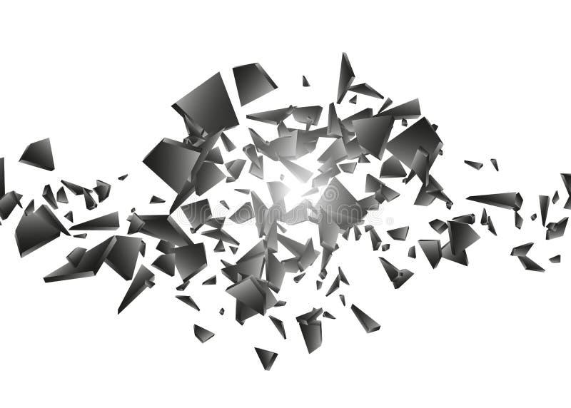 Svart explosion på vit bakgrund Explosionmoln av svarta stycken abstrakt vektorillustration vektor illustrationer