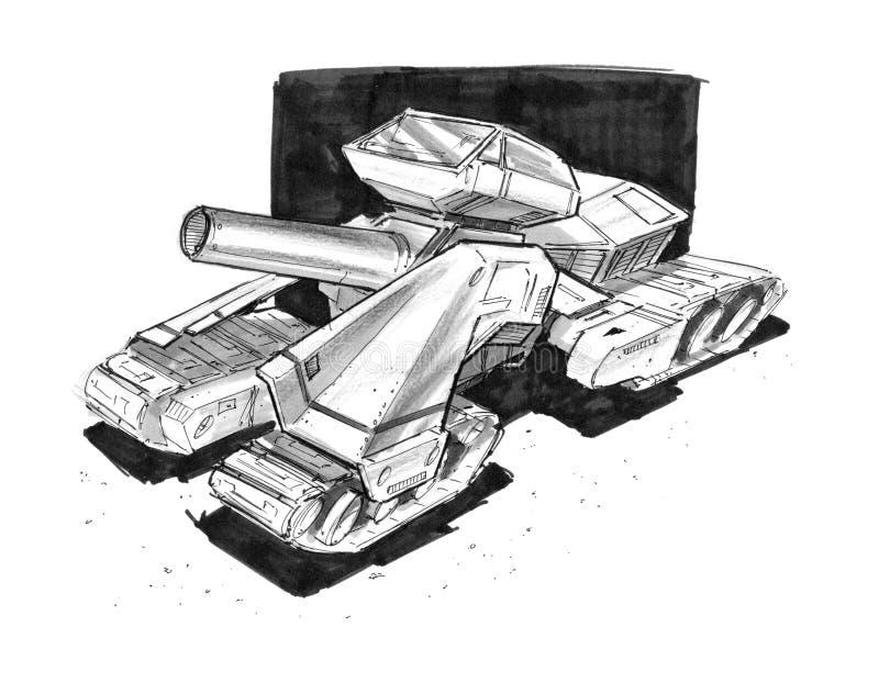 Svart färgpulverbegrepp Art Drawing av den framtida militära behållare- eller artilleridesignen för science fiction vektor illustrationer