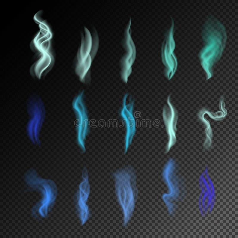 svart färgrik rök för bakgrund abstrakt realistisk blåttrökuppsättning illustration 3d vektor Skapat med royaltyfri illustrationer