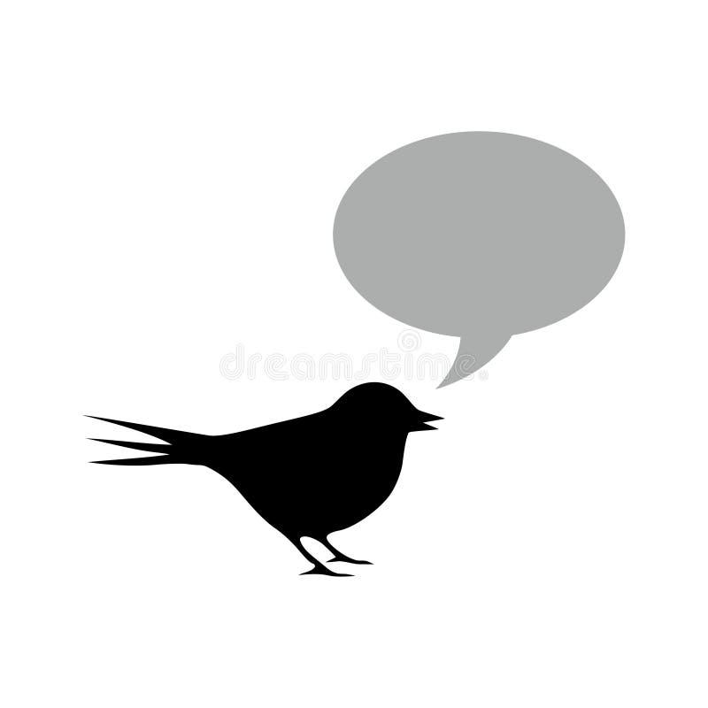 Svart fågel med anförandebubblan stock illustrationer