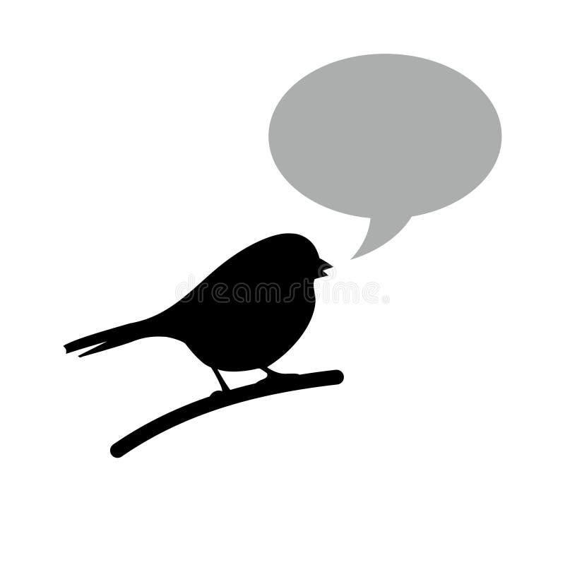 Svart fågel med anförandebubblan royaltyfri illustrationer