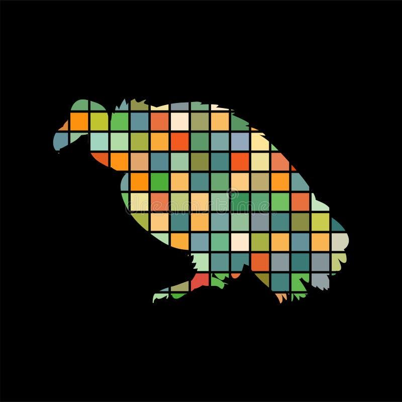 Svart för bakgrund för kontur för färg för gamfågelmosaik djur royaltyfri illustrationer