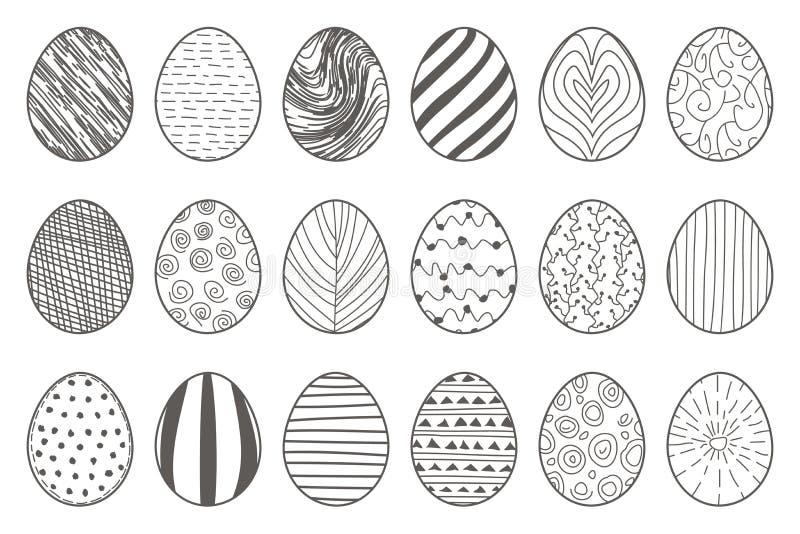 Svart för easter för lineart hand dragen illustration för vektor för uppsättning för symboler ägg dekorativt klotter isolerad royaltyfri illustrationer