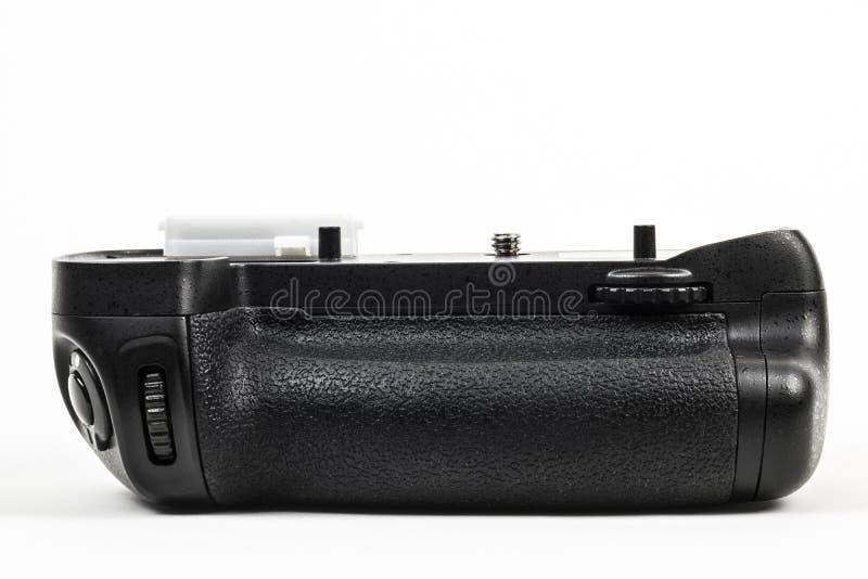 Svart för färg för fattande för DSLR-kamerabatteri som isoleras i vit Bekläda beskådar royaltyfri foto