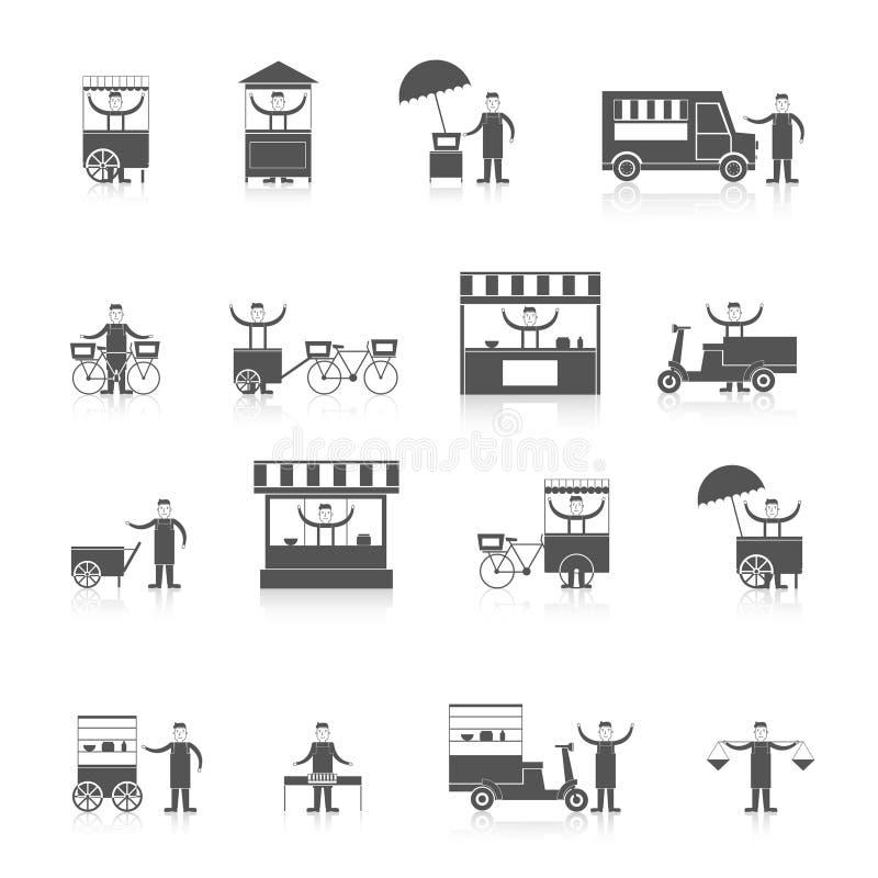 Svart för gatamatsymbol vektor illustrationer