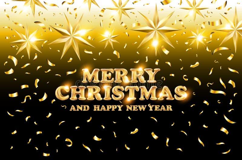 Svart för guld- glad jul och för det lyckliga nya året skiner bakgrund med garnering på guld- ljusa stjärnakonfettier också vekto royaltyfri illustrationer