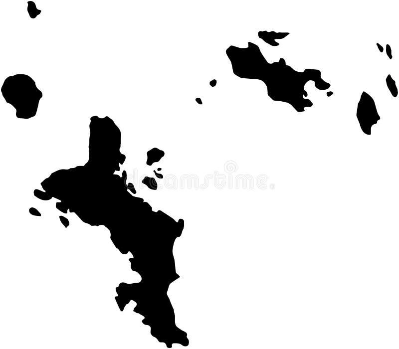 Svart för illustration för översikt för Seychellerna öland stock illustrationer
