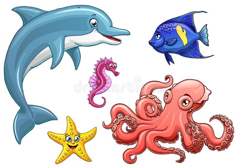 Svart för marin- djur för uppsättning fem gullig på vit royaltyfri illustrationer