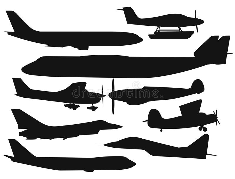 Svart för nivå för luft för civilflyglopppassanger vektor illustrationer