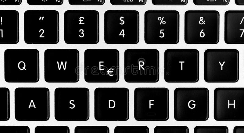 Svart för QUERTY-bärbar datortangentbord arkivfoton