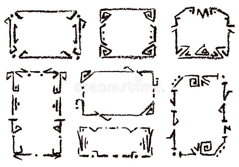 Svart för ram för färgpennahandteckning på vit Ställ in av rektangulär utsmyckad designbeståndsdel stock illustrationer
