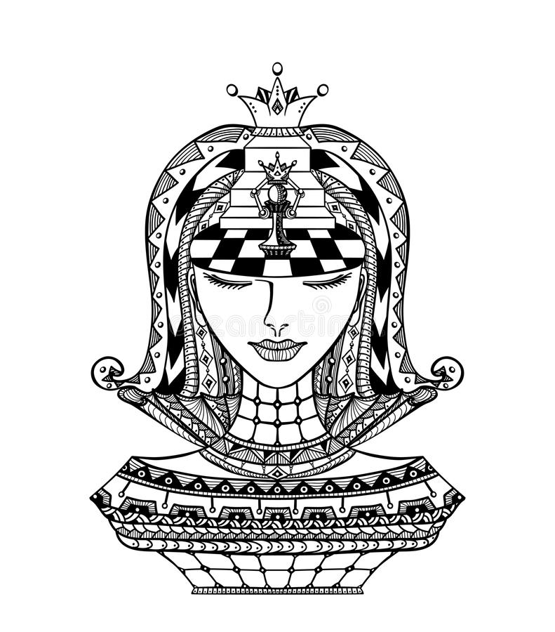 Svart för schackZen-tova flicka på vit royaltyfri illustrationer