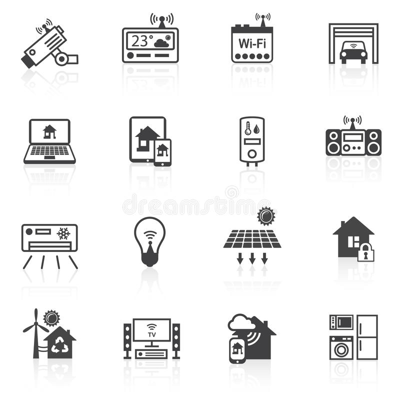 Svart för Smart hemsymboler stock illustrationer