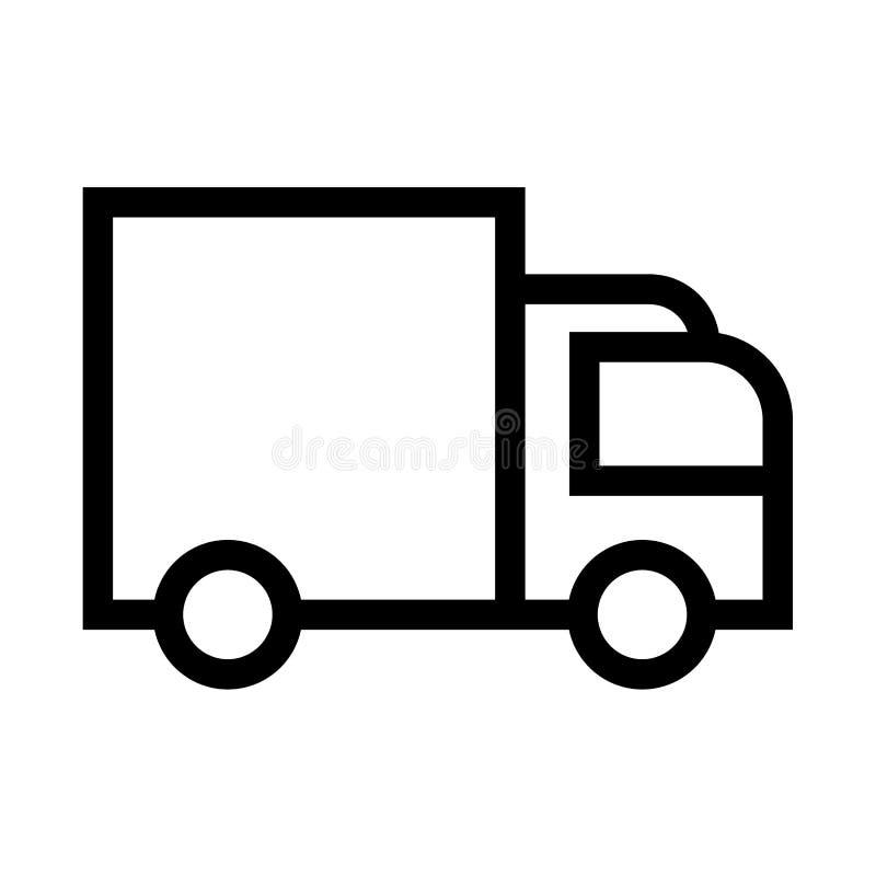 Svart för symbol för leveransskåpbil stock illustrationer