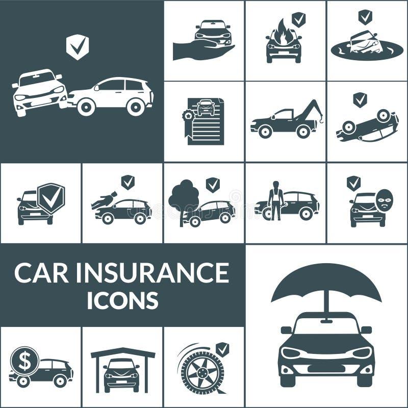 Svart för symboler för bilförsäkring stock illustrationer