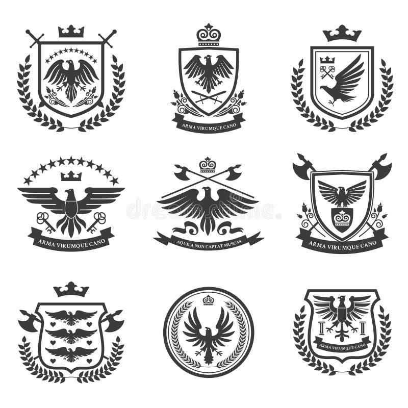 Svart för uppsättning för Eagle emblemsymbol royaltyfri illustrationer