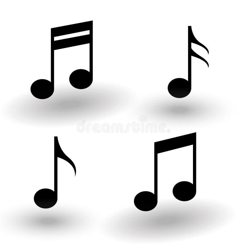 Svart för uppsättning för musikanmärkningssymbol med skugga, samling av vektormusi vektor illustrationer