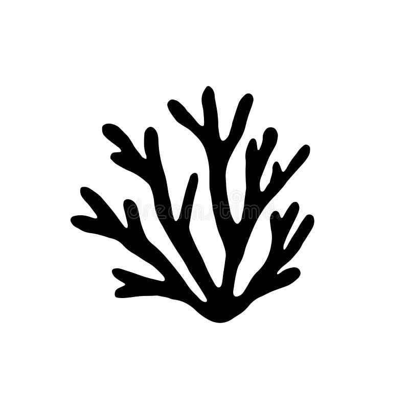Svart för vektor för havskorallkontur isolerat royaltyfri illustrationer