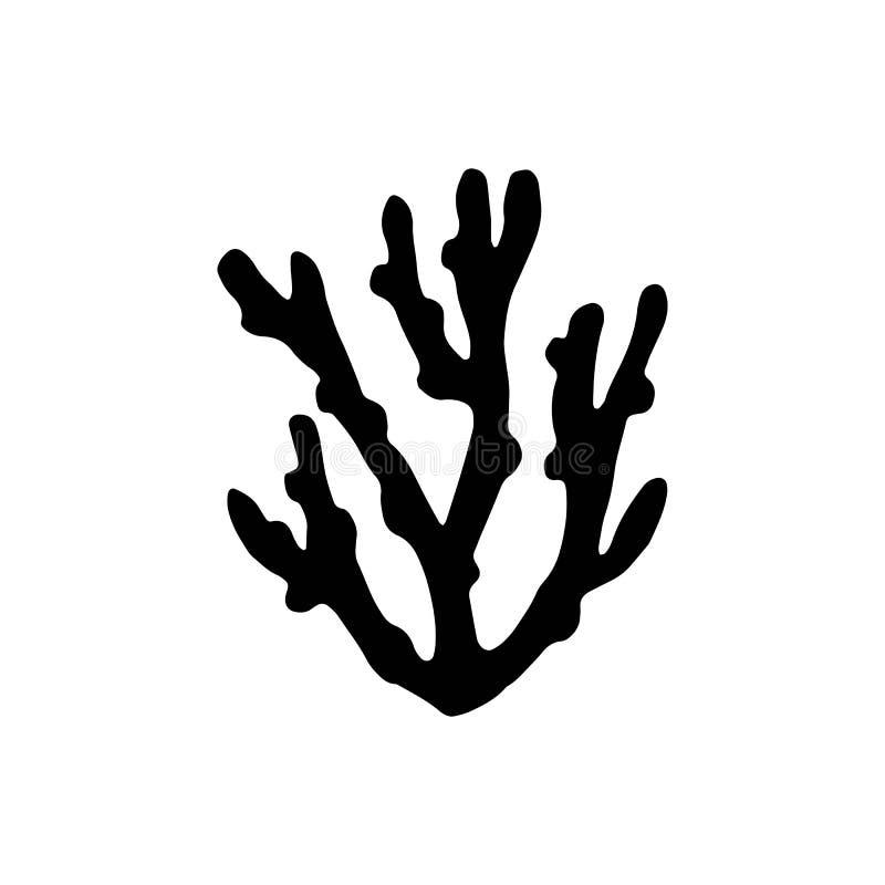 Svart för vektor för havskorallkontur isolerat vektor illustrationer