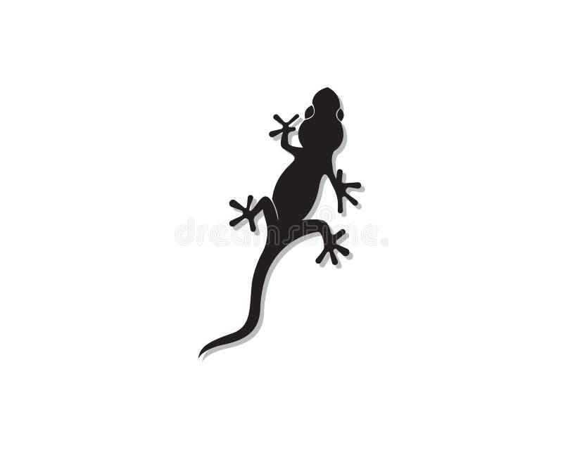 Svart för vektor för svart för kontur för ödlakameleontgecko royaltyfri illustrationer