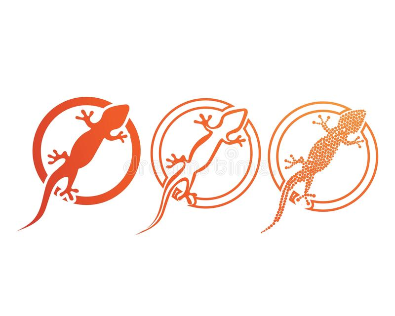 Svart f?r kontur f?r ?dlakameleontgecko stock illustrationer