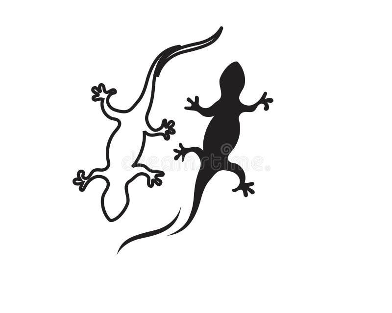 Svart f?r kontur f?r ?dlakameleontgecko royaltyfri illustrationer