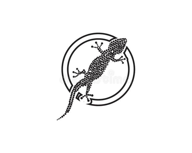 Svart f?r kontur f?r ?dlakameleontgecko vektor illustrationer