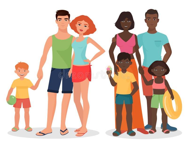 Svart familj för vit och för afrikan på sommarsemester eller på helgflykt vektor illustrationer