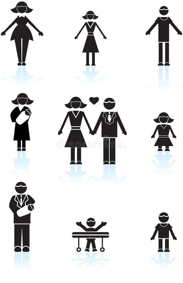 svart familjsymbol stock illustrationer