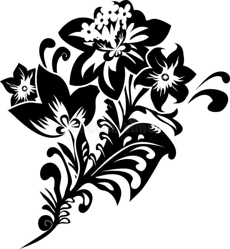 svart fantasiblommastencil royaltyfri illustrationer