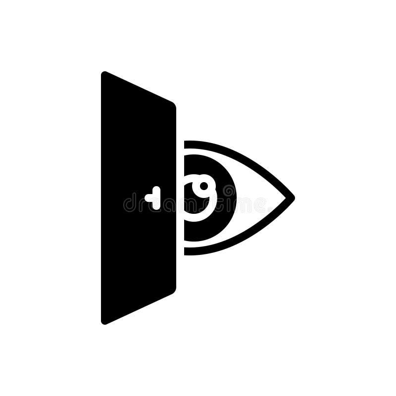 Svart fast symbol för ögonatt se, vision och att se royaltyfri illustrationer