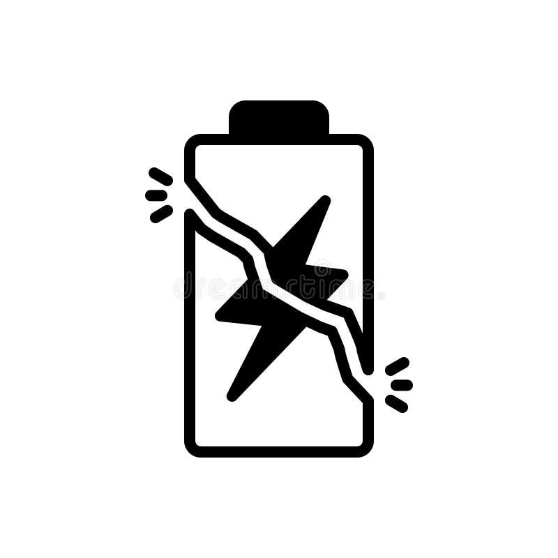 Svart fast symbol för överpris, batteri och laddning stock illustrationer