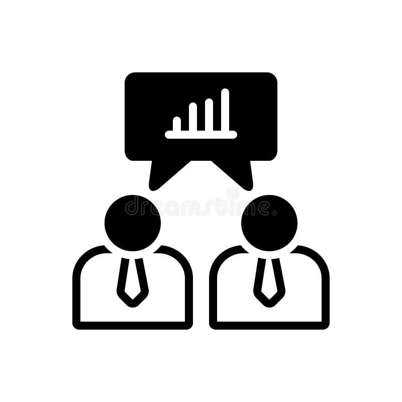 Svart fast symbol för affärsmannen Talking, om dataanalys och analytics stock illustrationer