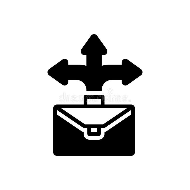 Svart fast symbol för affärstillfälle, prestation och riktning stock illustrationer